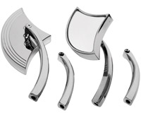 J&P Cycles Chrome Axe Mirror Set with Dual Radius Stem