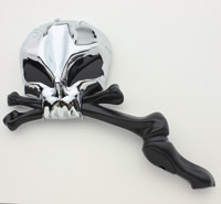 J&P Cycles® Chrome Skull Mirrors with Black Stems and Black Eyes