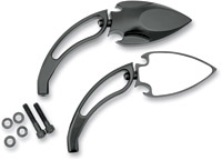 J&P Cycles® Black Powder-Coat Spade Mirrors