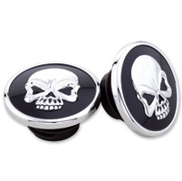 Milwaukee Twins Black and Chrome Skull Gas Cap Set