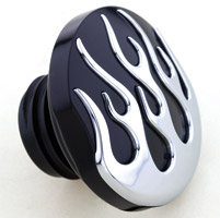 Milwaukee Twins Black and Chrome Flame Vented Gas Cap
