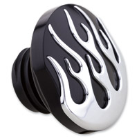 Milwaukee Twins Black and Chrome Flame Non-Vented Gas Cap