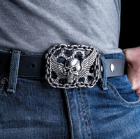 Milwaukee Twins Brushed Antique Flying Skull Belt Buckle