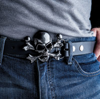 Milwaukee Twins Gunmetal Skull Crossbones Belt Buckle