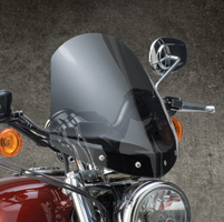 National Cycle Dark Tint Gladiator Windshield with Chrome Tree Top Mount for Sportster