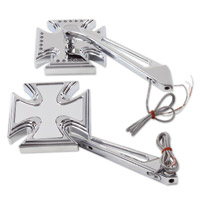 V-Twin Manufacturing LED Maltese Mirror Set