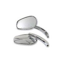 J&P Cycles Chrome Oval Spear Mirror Set with Billet Curved Stem