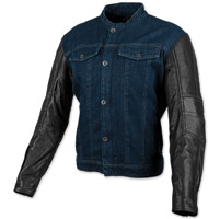 Speed and Strength Men's Band of Brothers Blue Denim/Black Leather Jacket