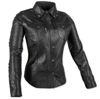 Speed and Strength Women's Black Heart Black Leather Moto Shirt