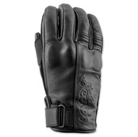 Speed and Strength Women's Black Heart Black Leather Gloves