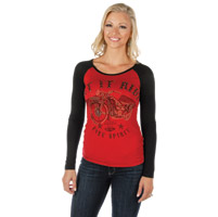 Liberty Wear Women's Let It Ride Red/Black Baseball Shirt
