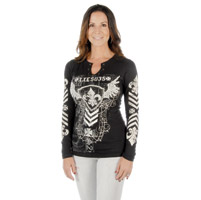 Liberty Wear Women's Fleur De Lis Stripes Black Long-Sleeve Tee
