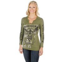 Liberty Wear Women's Fleur De Lis Stripes Olive Long-Sleeve Tee