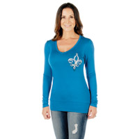 Liberty Wear Women's Fleur Ribbon Angel Teal Long-Sleeve Tee