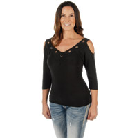 Liberty Wear Women's Hard Core Sasha Black V-Neck Top