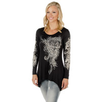 Liberty Wear Women's Fleur De Lis Scrolls Black Long-Sleeve Tee