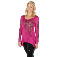 Liberty Wear Women's Fleur De Lis Scrolls Magenta Long-Sleeve Tee
