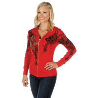 Liberty Wear Women's Fleur De Lis Red Hoodie