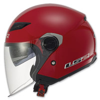 LS2 Track 569 Solid Red Open Face Helmet