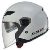LS2 Track 569 Solid Pearl White Open Face Helmet