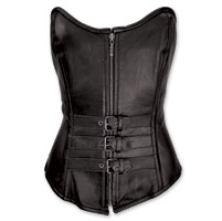 Vance Leathers Women's 3 Buckle Zip Front Black Leather Corset