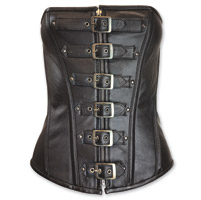 Vance Leathers Women's 6 Buckle Zip Front Black Leather Corset
