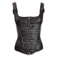 Vance Leathers Women's Rings and Straps Black Leather Corset