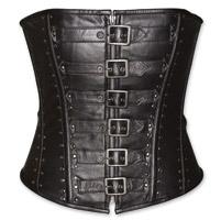 Vance Leathers Women's Studded Buckle Black Leather Corset