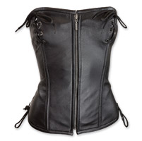 Vance Leathers Women's Top Laced Black Leather Corset