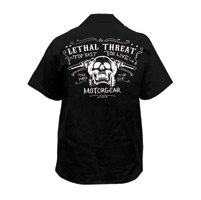 Lethal Threat Men's Skull Handlebars Black Work Shirt