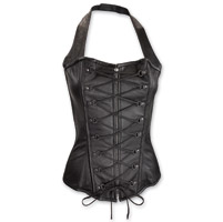 Vance Leathers Women's Lace Front Halter Black Leather Corset