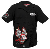 Lethal Threat Men's Winged Helmet Monster Black Work Shirt