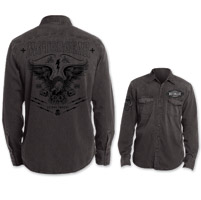 Lethal Threat Motorgear Men's Eagle Piston Black Button Down Shirt