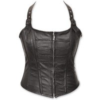 Vance Leathers Women's Zip Front Halter Black Leather Corset
