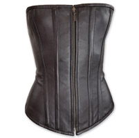 Vance Leathers Women's Zip Front Classic Black Leather Corset