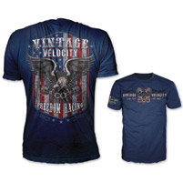 Lethal Threat Vintage Velocity Men's Freedom Racing USA Blue T-Shirt