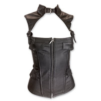 Vance Leathers Women's Collared Black Leather Corset