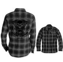 Lethal Threat Motorgear Men's Death Row Black/Gray Button Shirt