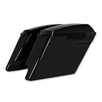HogWorkz 4″ Vivid Black Extended Saddlebags with Dual Cut-Out