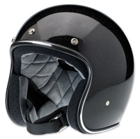 Biltwell Inc. Bonanza Gloss Black Gold Mini Flake Open Face Helmet