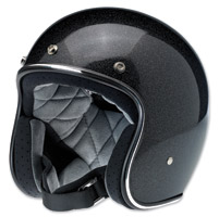 Biltwell Inc. Bonanza Gloss Midnight Black Mini Flake Open Face Helmet