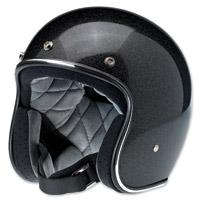 Biltwell Inc. Bonanza Gloss Midnight Black Mini Flake Open Face Helmet