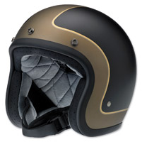 Biltwell Inc. Bonanza LE Tracker Flat Black/Gray/Gold Open Face Helmet