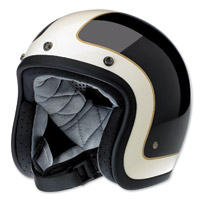 Biltwell Inc. Bonanza LE Tracker Gloss Black/Vintage White Open Face Helmet