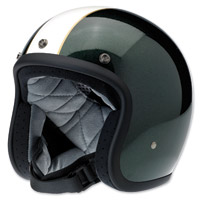 Biltwell Inc. Bonanza LE Racer Gloss Green/Cream Open Face Helmet