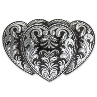 Hot Leathers Triple Heart Belt Buckle