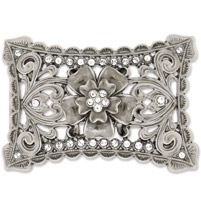 Hot Leathers Rhinestone Flower Belt Buckle