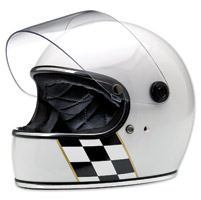Biltwell Inc. Gringo S LE Checker Stripe Gloss White Full Face Helmet