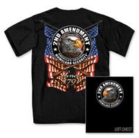 Hot Leathers Men's Down Flags Black T-Shirt