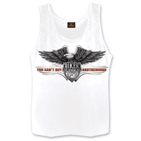 Hot Leathers Men's Brotherhood Eagle White Sleeveless Shirt